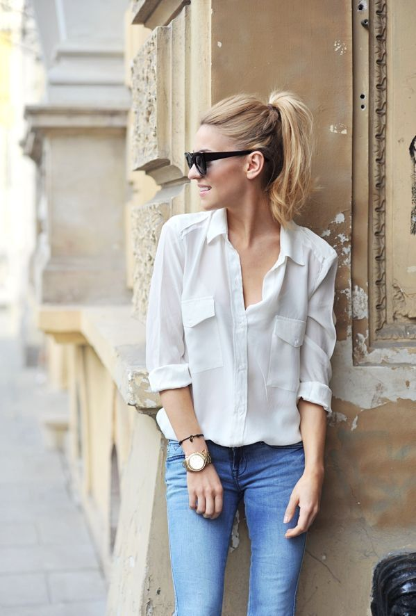 Make Life Easier - White Button Down + Jeans