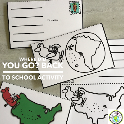 Write a Postcard Back to School Activity for Spanish Class