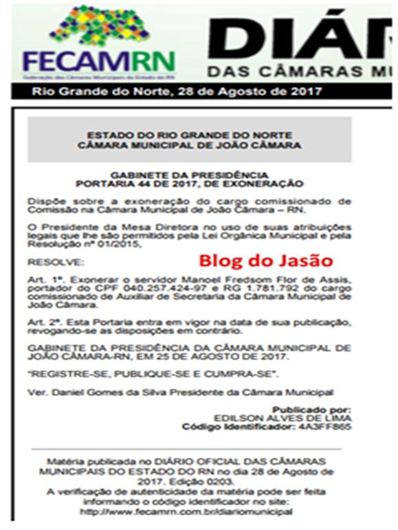 TCE em João Câmara,nepotismo em Baixa: Presidente da Câmara Daniel, exonera o irmão do vereador Pastor Frank, vice presidente da Câmara.