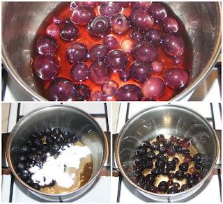 boabe de struguri fierti cu zahar si lichior, preparare ornament deserturi, retete culinare, dulciuri, deserturi,