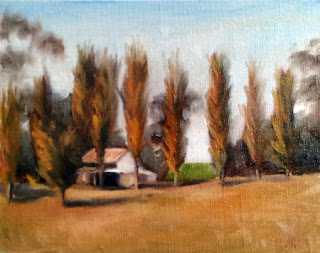 Oil painting of farm sheds and poplar trees on a low ridge.