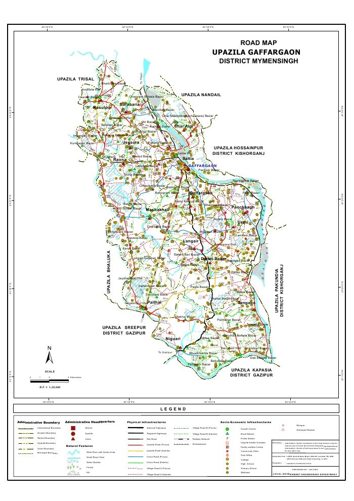 Gaffargaon Upazila Road Map Mymensingh District Bangladesh