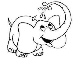 Cute Elephant Take A Bath Coloring Sheet Images