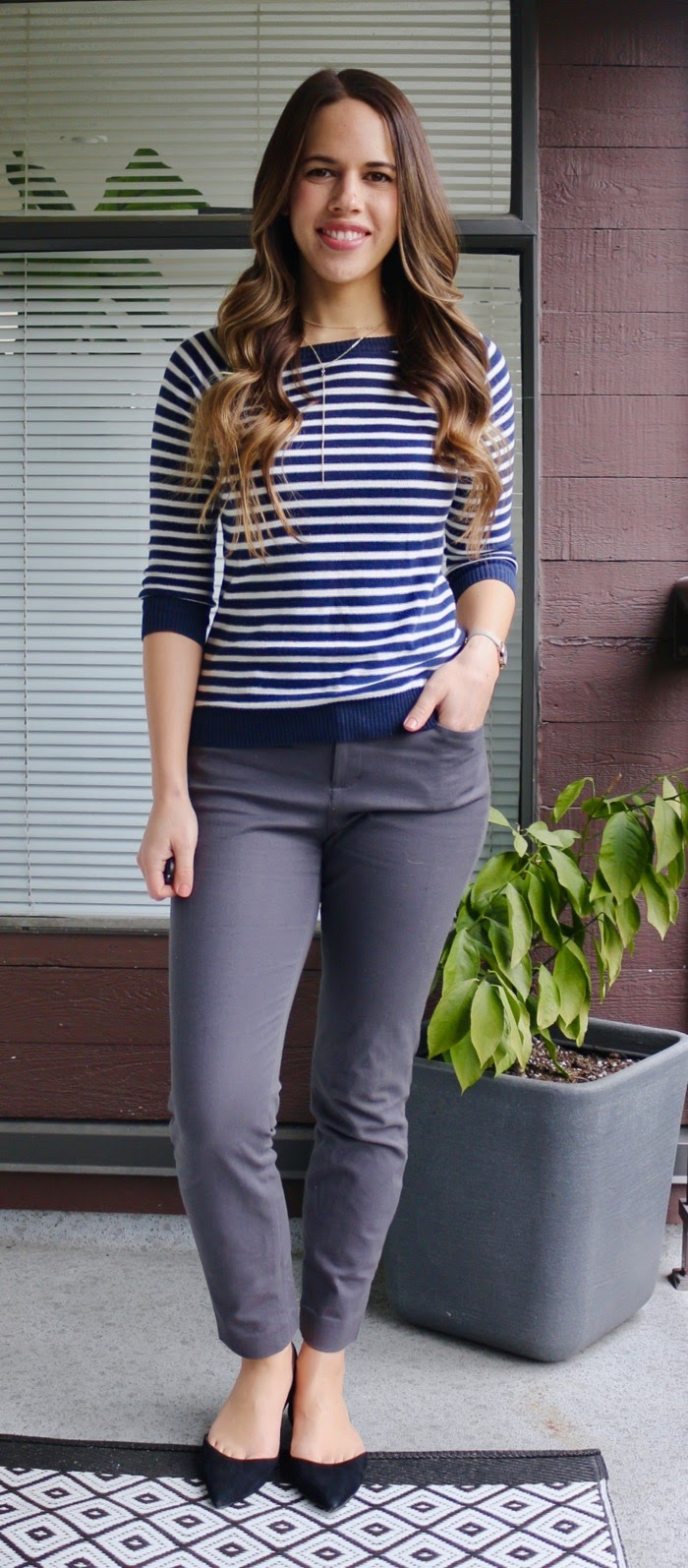 Jules in Flats - Simple Stripes and Grey Ankle Pants for Work