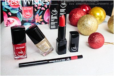 review nails  red gold Lipstick lippencil rosso  oro best wishes TNS cosmetics Christmas