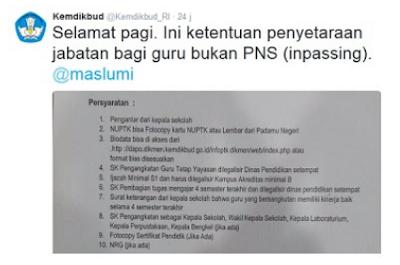 SYARAT DAN KETENTUAN PENYETARAAN JABATAN GURU BUKAN PNS (INPASSING) TERBARU