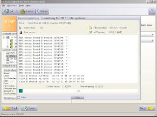 Proses scaning pencarian file oleh GetDataBack