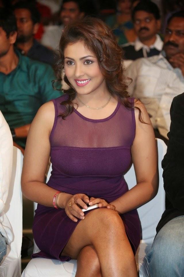 Madhu Shalini In Purple Dress Sizzling Hot Stills