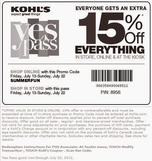 We have 14 Kohls discount codes for you to choose from including 6 coupon codes, and 8 sales. Most popular now: 15% Off Kohl's with their Email Sign Up.