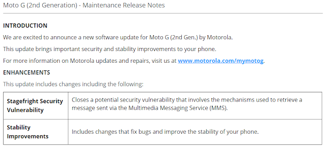 Moto G (2nd Generation) getting Stagefright Security update