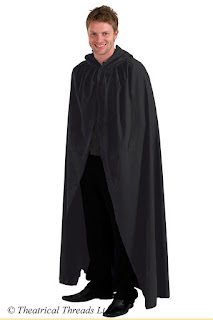 Black hooded adult fancy dress cloak from Theatrical Threads