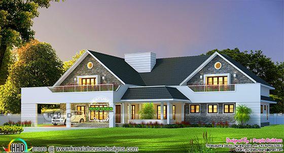 3280 sq-ft 4 bedroom sloping roof single floor