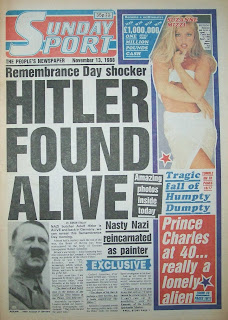 Front cover of the Sunday Sport paper from 13th November 1988