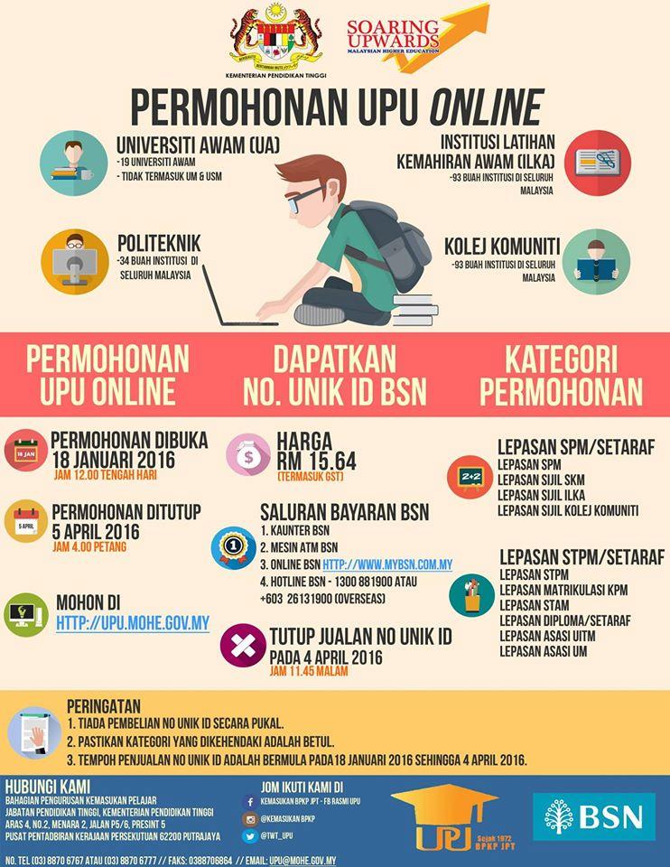 cara buat permohonan upu 2016 online
