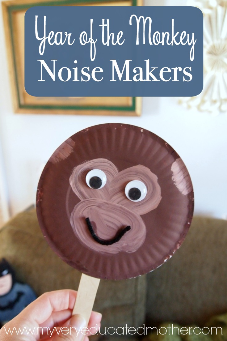 This fun kids craft is perfect to make for Chinese New Year 2016 or ANY time! Monkey Noise Makers!
