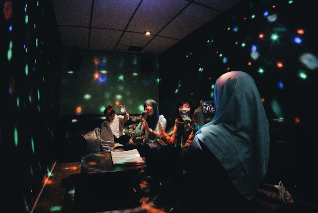 Karaoke-ing with housemates