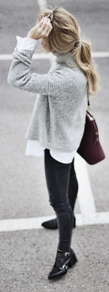 fall street style : grey sweater + shirt + skinny jeans + boots + bag