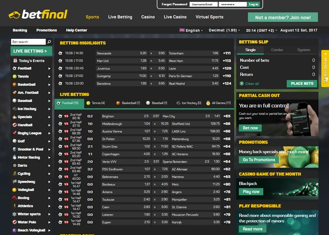Betfinal Screen