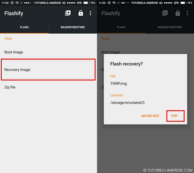 Flasher un fichier img avec Flashify