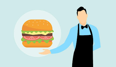 burger, eat, meal, food, hamburger, fast, lunch, eating, unhealthy, dinner, cheeseburger, butler, waiter, apron, catering, gesture, man, inviting, serve, service