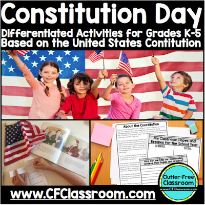 Did you know ALL public school teachers MUST teach a lesson about the Constitution on Constitution Day every September? This post by the Clutter - Free Classroom provides Constitution Day Activities for Elementary School Students. It also has Constitution Day Resources, Lesson Plans and Printables for Kids and suggests Constitution Day books.