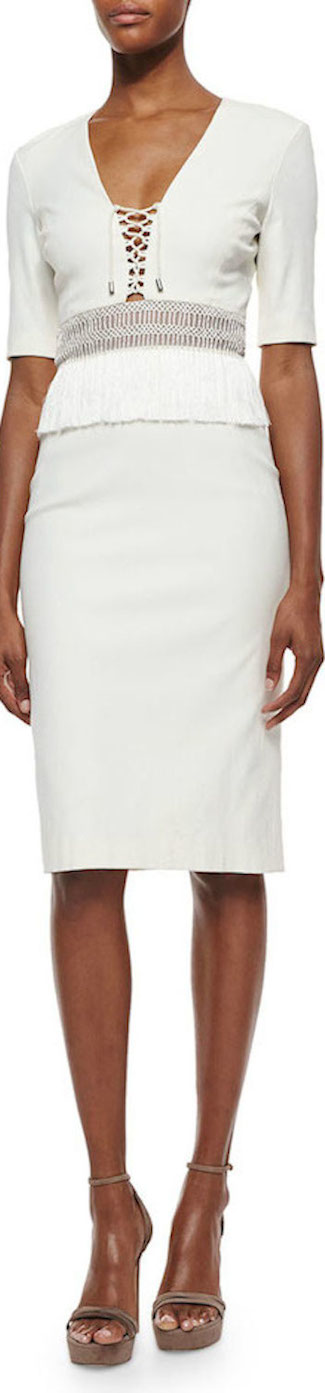 Altuzarra  Lace-Up Fringe-Trimmed Sheath Dress in white