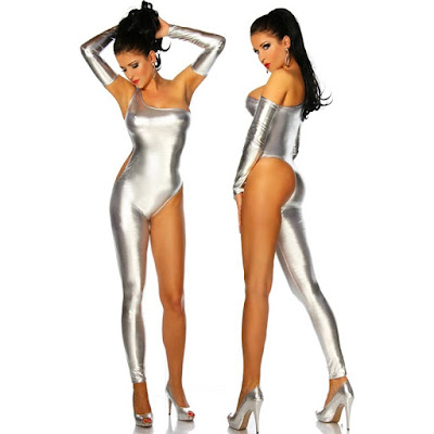 Shiny spandex catsuit