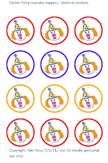 http://elegantesoirees.blogspot.com/2011/07/free-clown-cupcake-toppers-labels-or.html