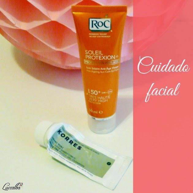 Soleil Protexion + de Roc y Gel fluido limpiador con te blanco de Korres