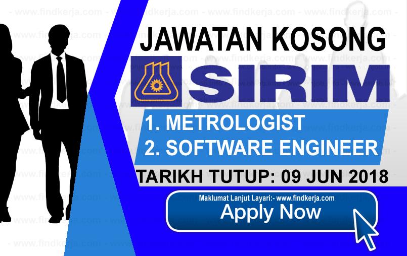 Jawatan Kerja Kosong SIRIM Berhad logo www.findkerja.com www.ohjob.info jun 2018