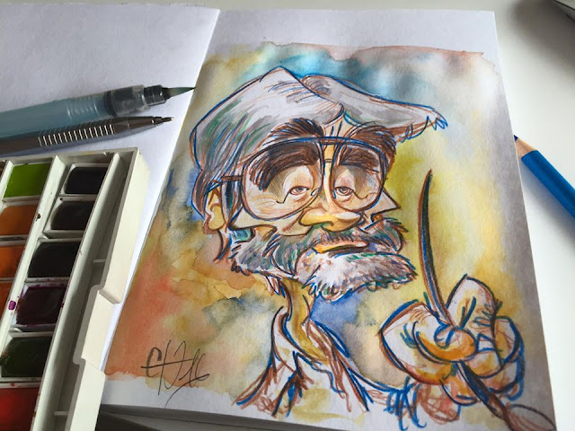 Carlos Nine... Watercolor sketch... ©Guillaume Néel