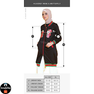 HIJACKET Casual R&B ROSE BLACK M fit L Jaket Hijab