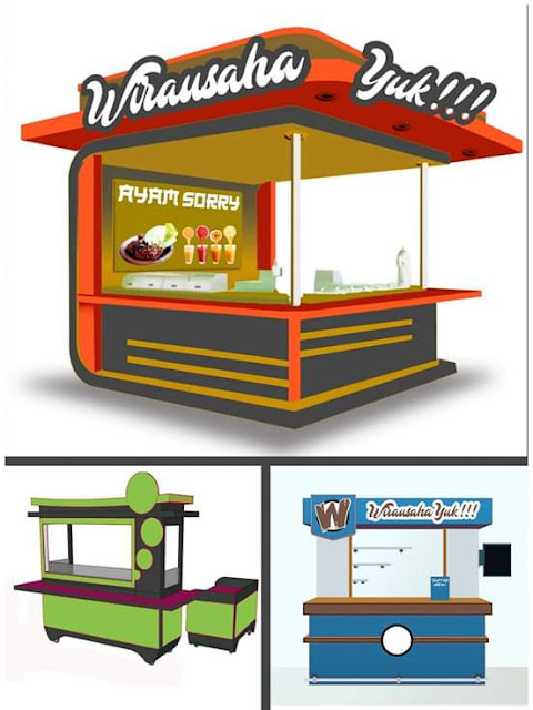 Contoh Desain Rombong / Etalase / Gerobak / Outlet untuk Bisnis Fast Food and Drink