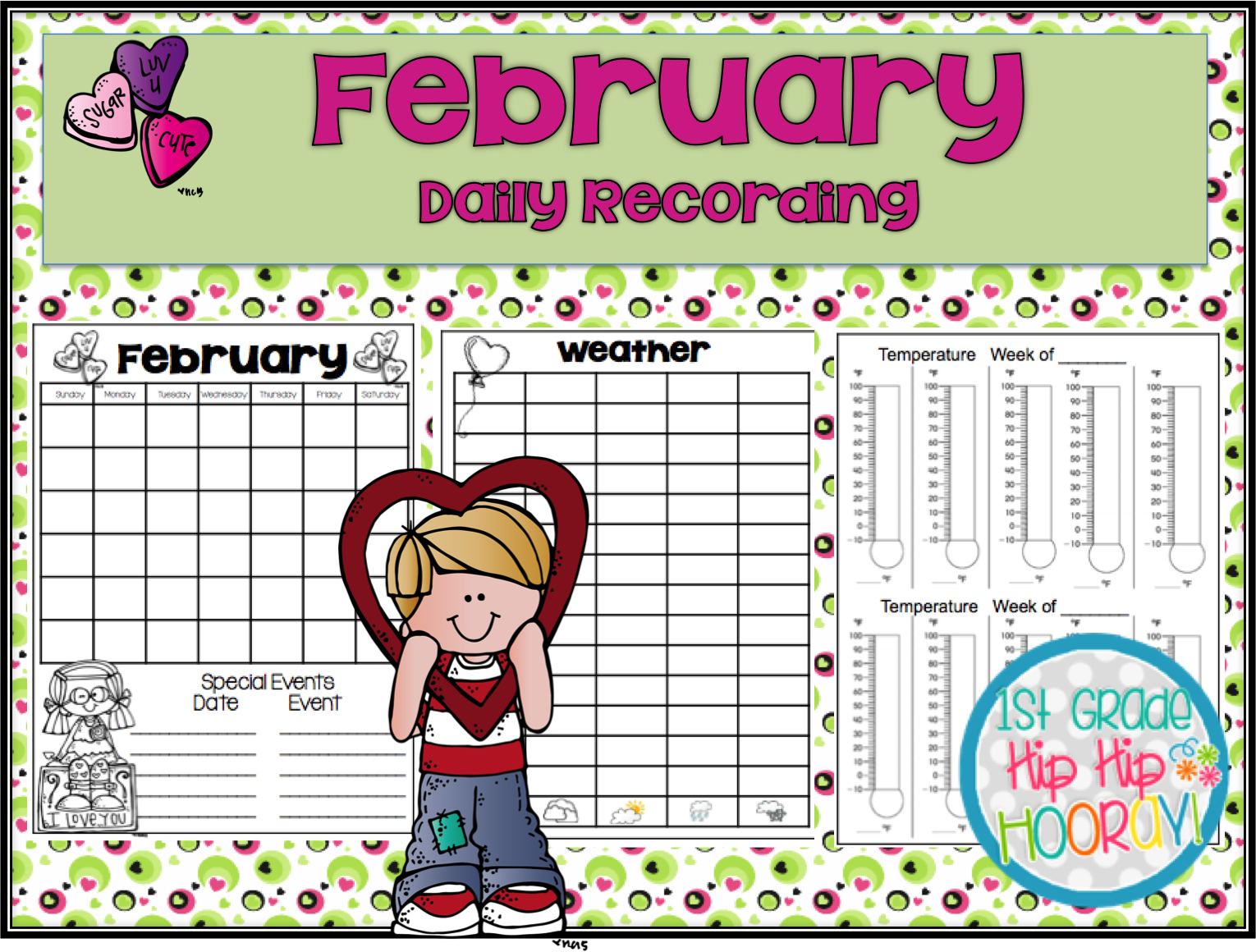 1st Grade Hip Hip Hooray February Daily Calendar Weather