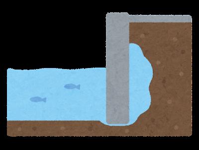 空洞のできた岸壁のイラスト