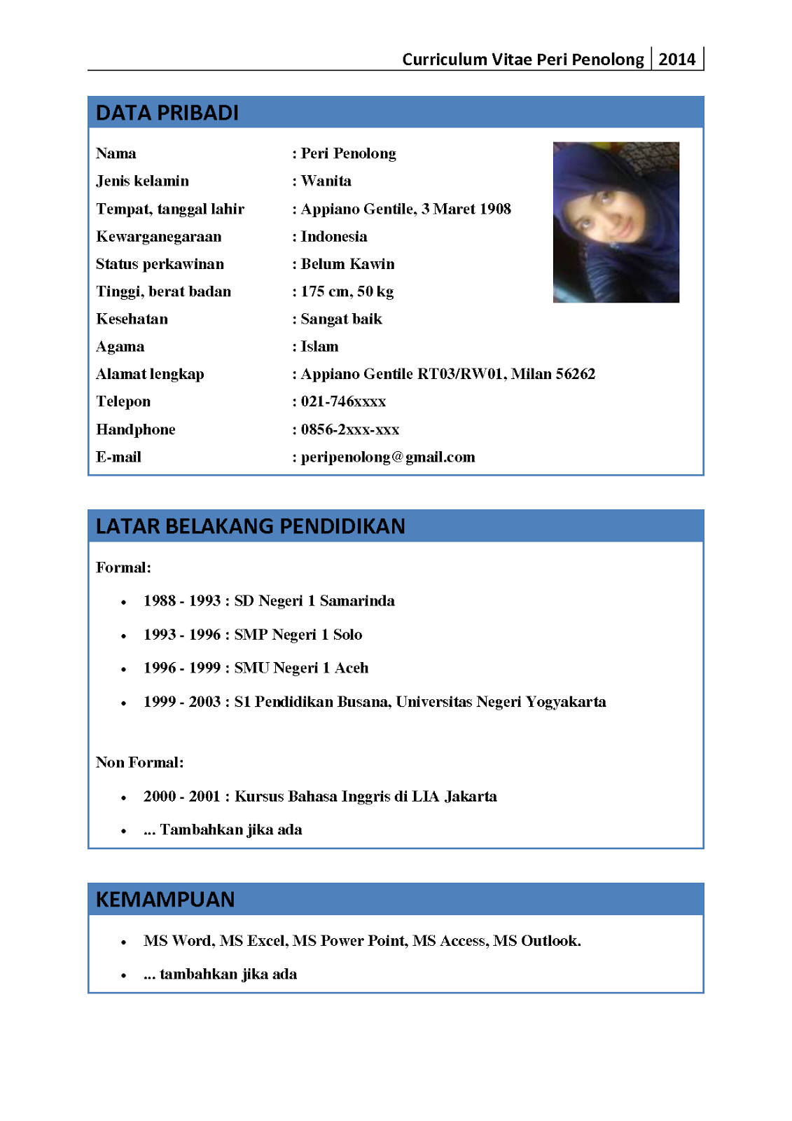 Contoh Format Cv Gumus Northeastfitness Co