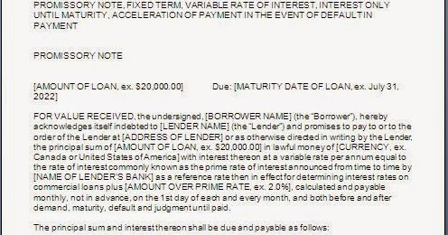 Loan Promissory Note Format