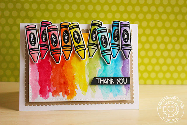 Sunny Studio Stamps: School Time Crayon Watercolor Thank You Card by Eloise Blue.