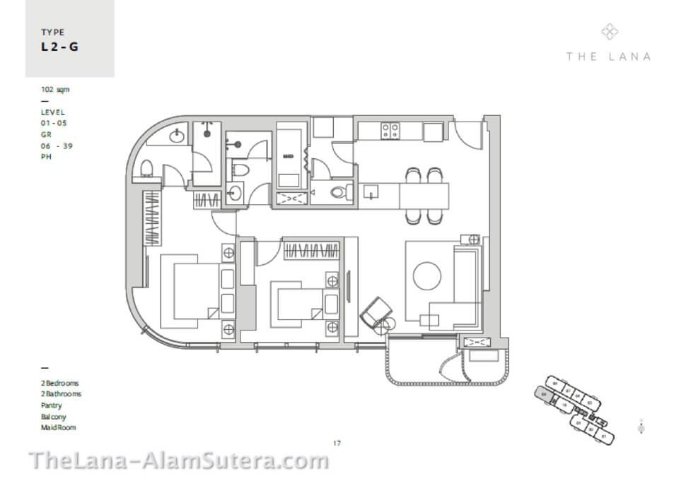 Type L2-G Apartemen The Lana Alam Sutera