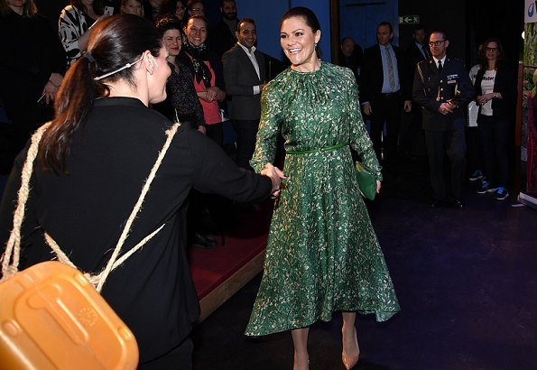 Crown Princess Victoria wore H&M dress from H&M Conscious Exclusive Collection 2018.