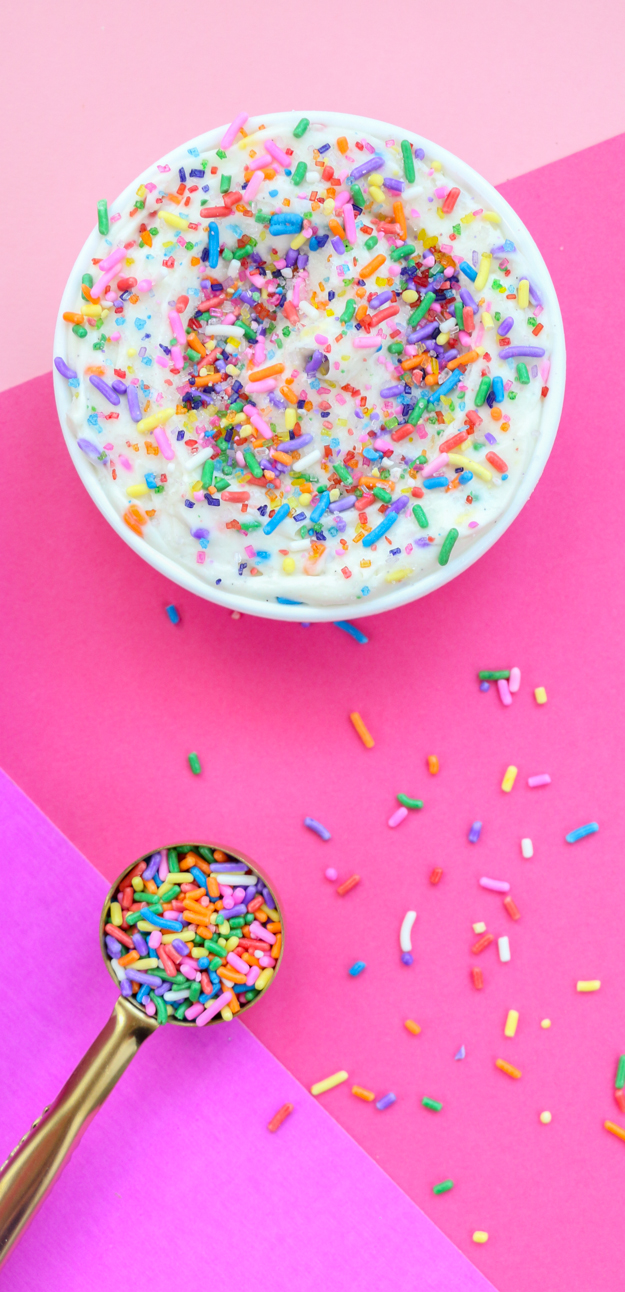 Recipe for Funfetti Cake batter churros with cream cheese frosting - perfect for cinco de mayo or your next fiesta - alternative to birthday cake - funfetti churros
