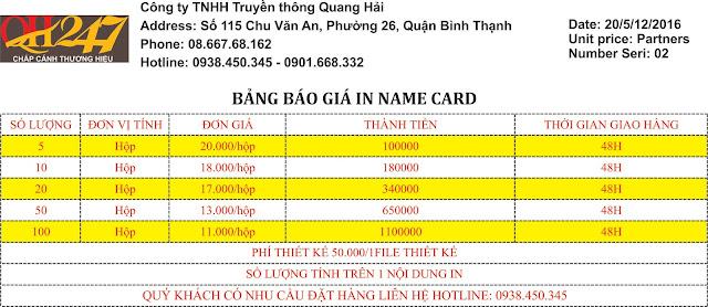 Giá In Name Card tại Quang Hải 247