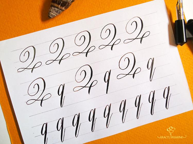 Caligrafia copperplate letra Q abecedario aprender escribir