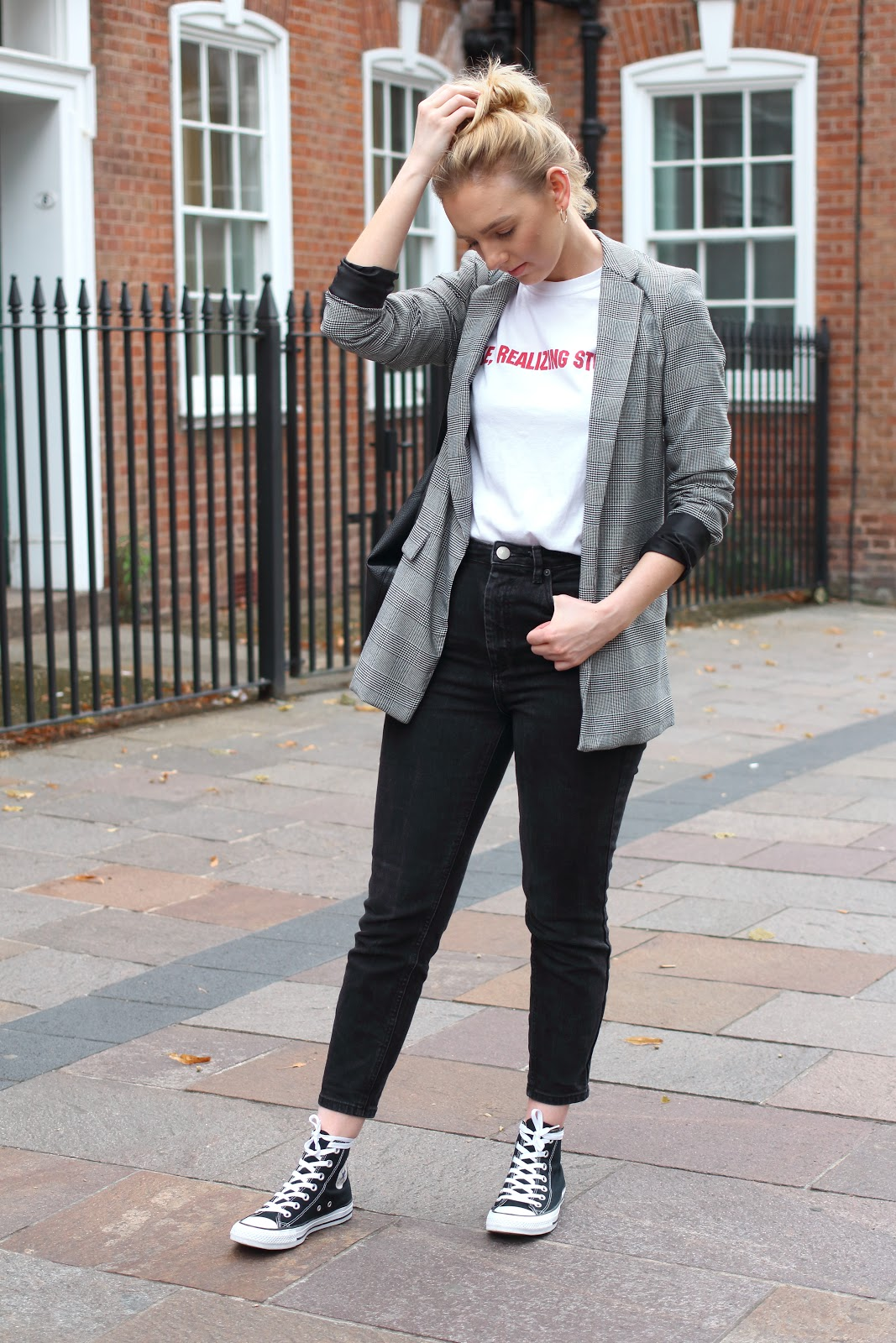 missy empire, slogan, t-shirt, blazer, check, high street, cheap, fashion, asos, kylie, jenner, uk, blogger, ootd,