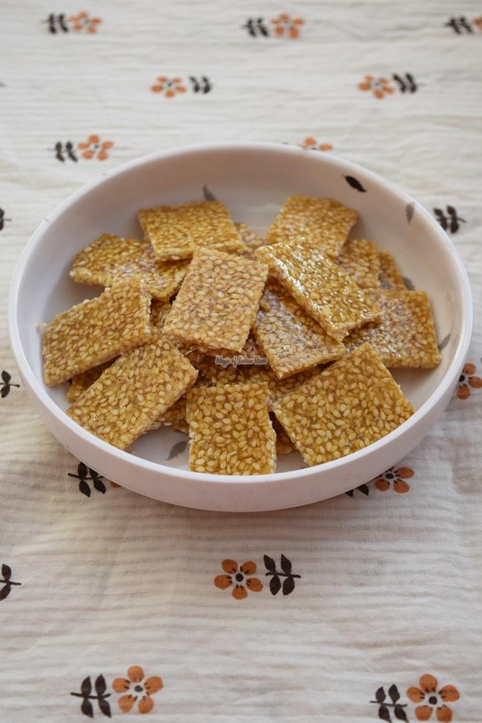 Til Chikki using Sugar - Til Patti Recipe - Magic of Indian Rasoi -Priya R