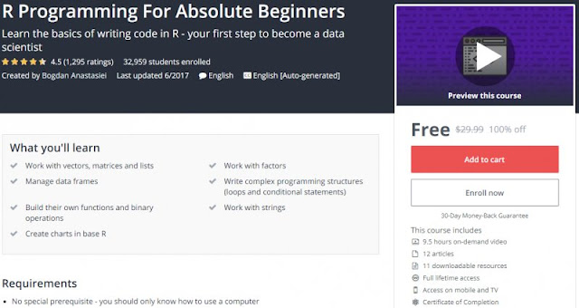 [100% Off] R Programming For Absolute Beginners| Worth 29,99$
