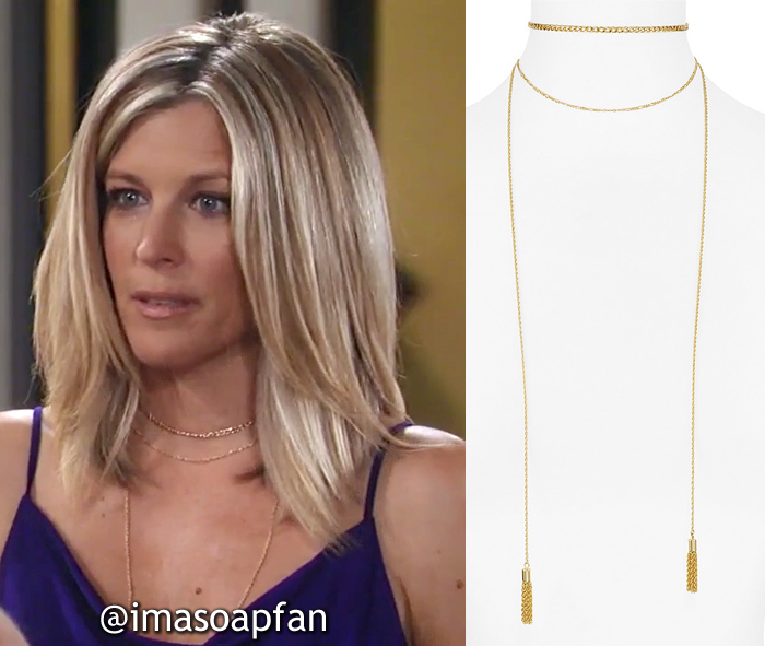 Carly Corinthos, Laura Wright, Gold Chain Layered Wrap Necklace, AQUA, General Hospital, GH