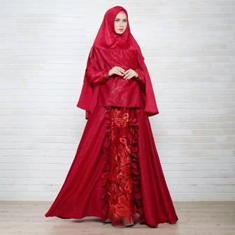 Model Baju Gamis Brokat Kombinasi Kain Satin Yang Modis