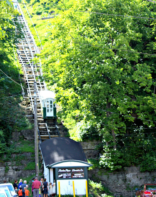 The cars of the Dubuque Incline escort visitors to magnificent views of the city.
