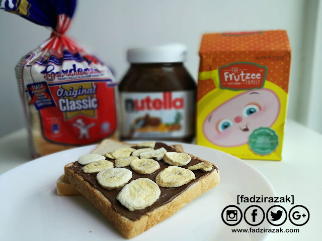Resepi Snek Mudah Untuk kanak-kanak - Frutzee Banana Nutella Sandwich